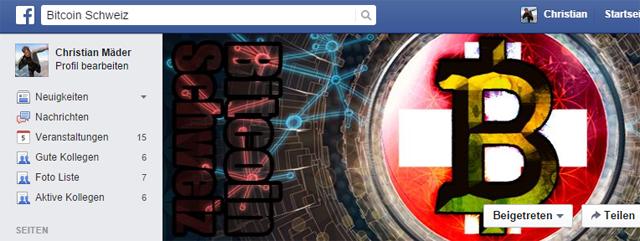 Schweizer Bitcoin Gruppe auf Facebook