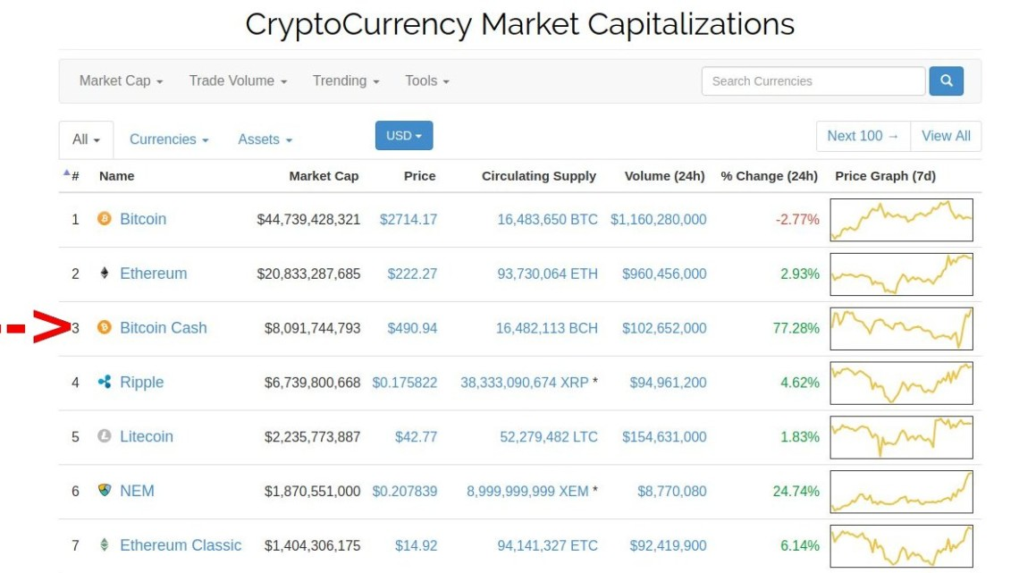 Bitcoin Cash: Market Capitalisation
