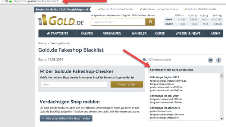 Vorsicht vor unseriösen Webseiten für Gold An- und Verkauf