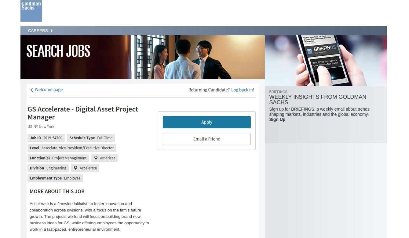 Goldman Sachs sucht Blockchain-Spezialisten