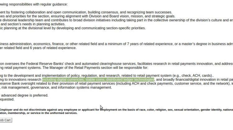 Bitcoin jobs Zentralbank