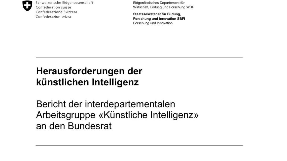 Eine interdepartementale Arbeitsgruppe «Künstliche Intelligenz» hat im Auftrag des Bundesrats die Herausforderungen der künstlichen Intelligenz und allfälligen Handlungsbedarf seitens des Bundes untersucht.