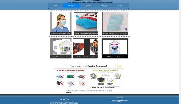 """Screenshot des Fake-Shops """"globalmasksuppliers.com"""" Beispiel, wie der Fake-Shop """"globalmasksuppliers.com"""" dargestellt wird."""