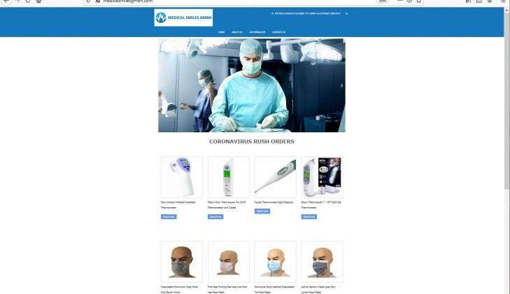 """Screenshot des Fake-Shops """"medicalsmilesgmbh.com"""" Beispiel, wie der Fake-Shops """"medicalsmilesgmbh.com"""" im Internet dargestellt wird."""