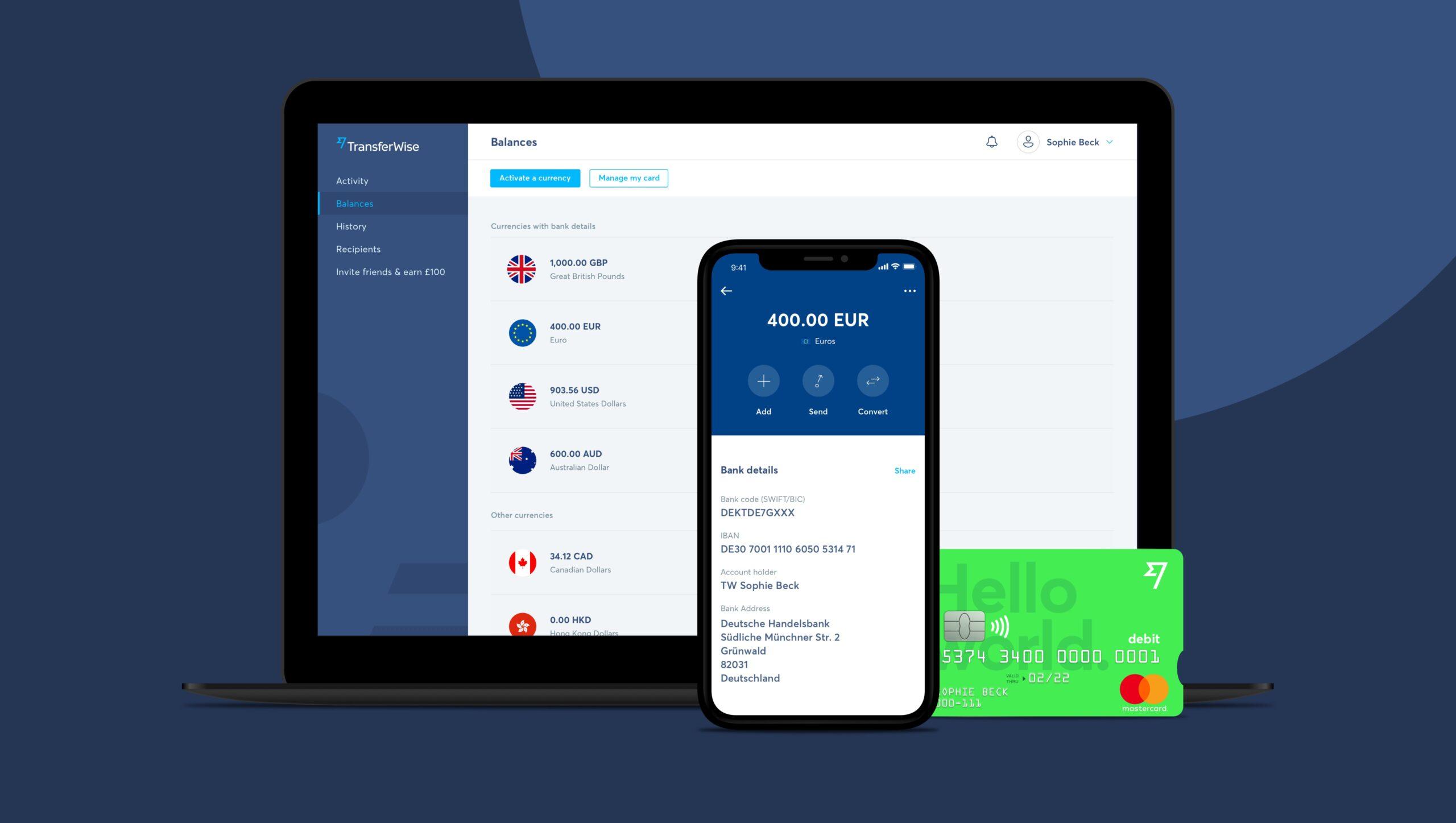 Mit der Debit Mastercard von TransferWise erhalten Kunden weltweit Zugang zu einem Multi-Währungs-Konto und zahlreichen Mobile-Payment-Lösungen im europäischen Wirtschaftsraum