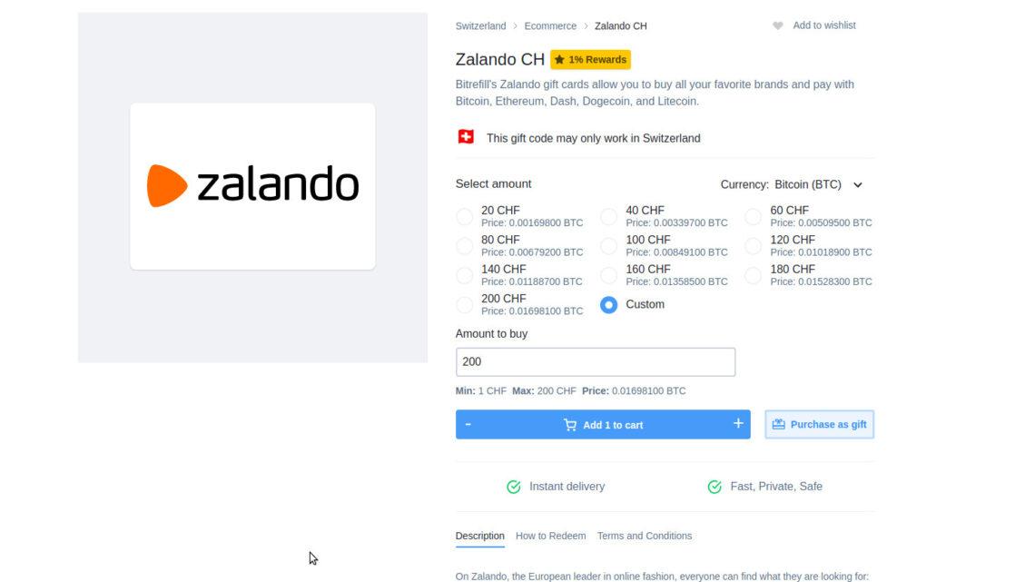 Mit Bitcoin bei Zalando einkaufen? Dank Bitrefill kein Problem.
