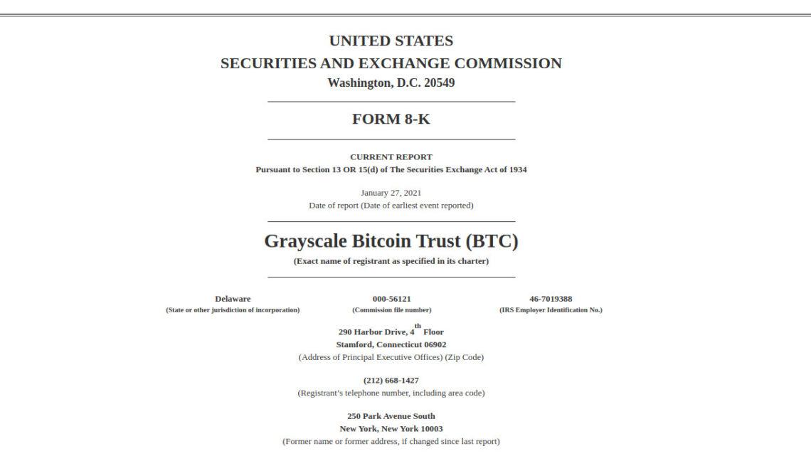 Der grösste Vermögensverwalter der Welt, Grayscale, deckt sich mit weiteren 7'756 Bitcoins ein. Das geht aus einem Dokument der SEC hervor.