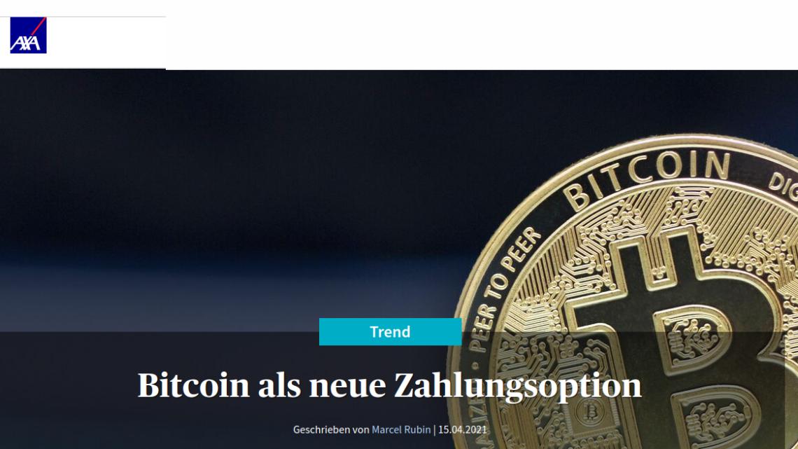 AXA Schweiz: Bitcoin als neue Zahlungsoption