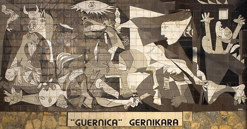 Nachbildung von Guernica in Form von Kacheln als Wandbild in Originalgröße in der Stadt Gernika