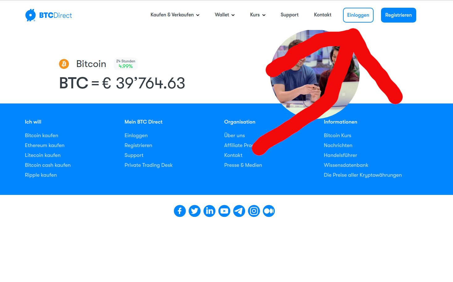 BTC Direct ist eine der ältesten Bitcoin-Börsen Europas. Aber nicht nur das, bei BTC Direct gibt's die Bitcoins am günstigsten und wer will, kann diese sogar mit Kreditkarte kaufen. Einziger Nachteil: BTC Direct verwaltet keine Bitcoins, dh. der User muss sich selber eine eigene Wallet an einem anderen Ort anlegen.