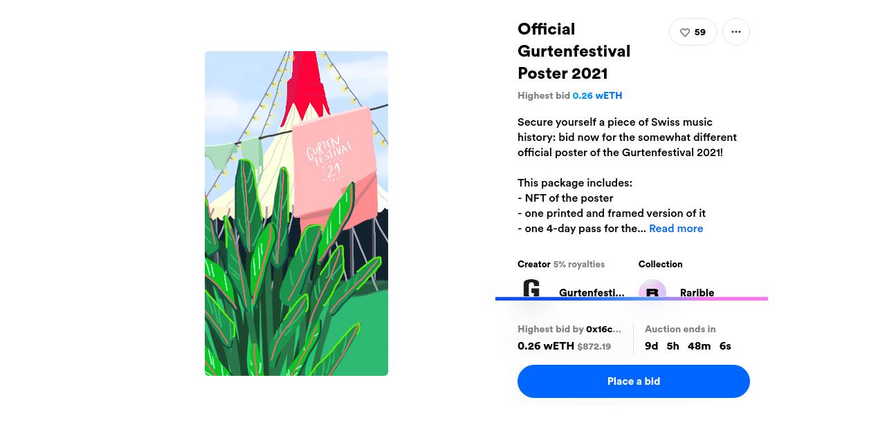 Offizielles Gurtenfestival Plakat 21 als NFT zu ersteigern!