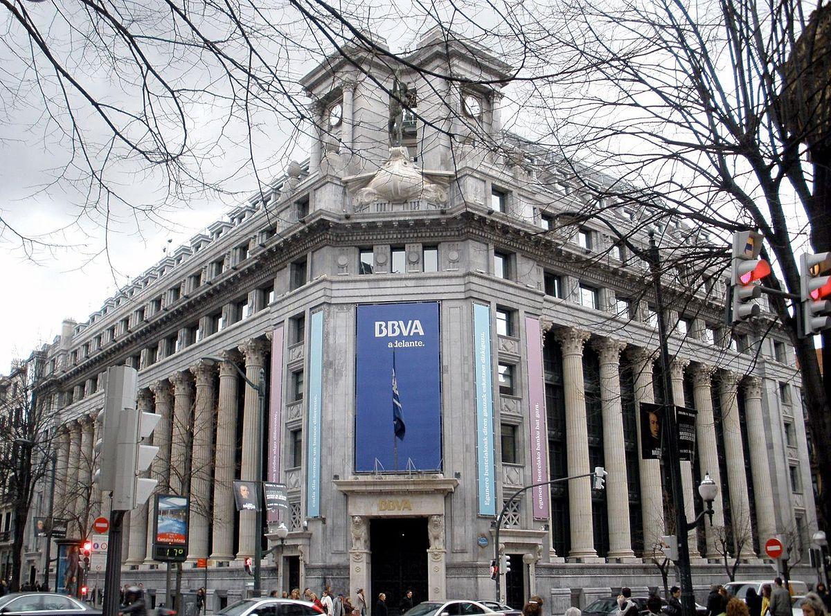 Antigua sede del Banco de Comercio en Bilbao, hoy BBVA. Bilbao, País Vasco, España.