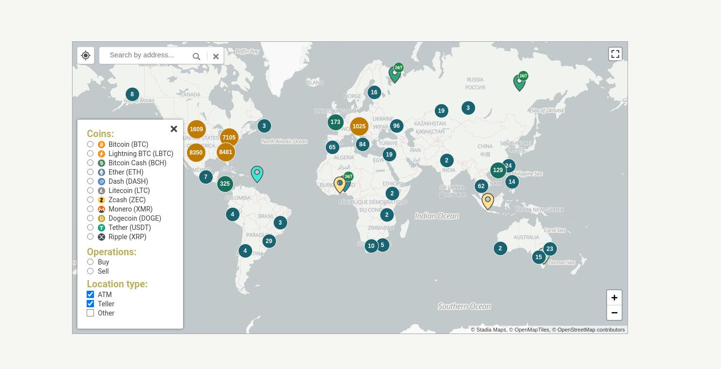 Bitcoin ATMs weltweit