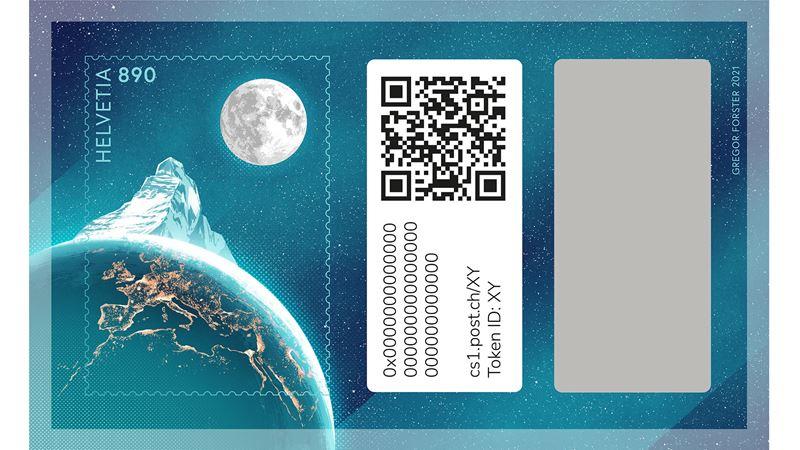 Auf zum Mond! Das ist die erste Crypto Stamp der Schweiz